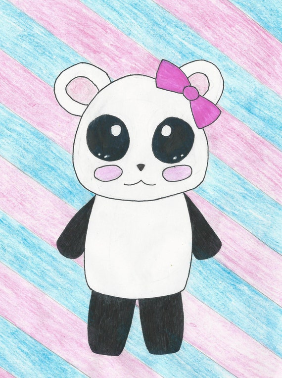 Items similar to kawaii panda anime panda manga art for Panda bear decor