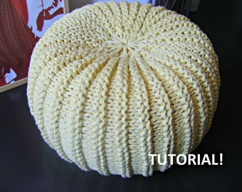 Knitted Ribbing Patterns : Popular items for knit pouf on Etsy
