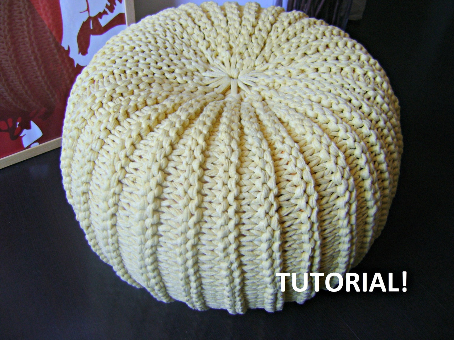 diy tutorial xxl pouf poof ottoman footstool home by iswoolish. Black Bedroom Furniture Sets. Home Design Ideas