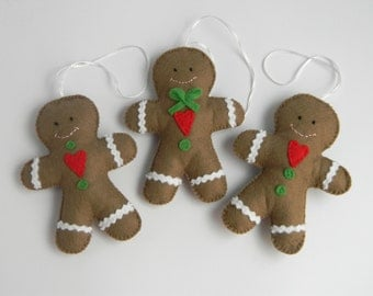 Set -3 Gingerbread Man christmas ornament- Felt Christmas Ornament - Felt Gingerbread man-Christmas Tree Ornament - Tree Decorations