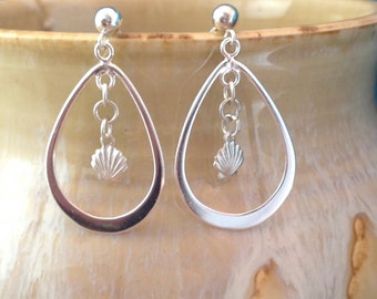 Delicate Sterling Silver Shell Hoop Earrings