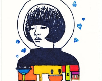 Limited Edition 'Space Cadet' A6 Gocco Print. Hand coloured. Edition of 25.