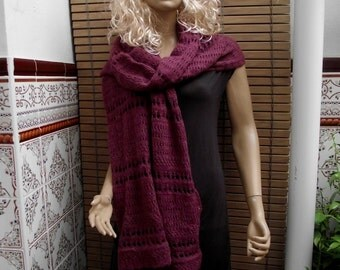 Hand knitted wool purple scarf Knit scarf Handmade scarf