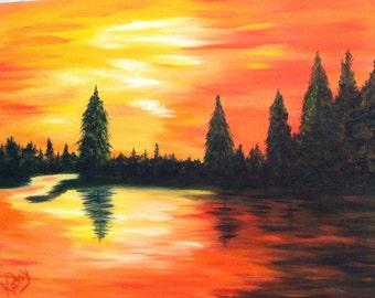 Lake sunset, oil painting, up north Wisconsin themed- original art 11x14, evergreen trees, Wisconsin Art, impressionism art