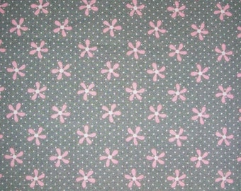 Floral Fabric Grey and Pink Fabric with Flowers Daisy Flowers Spring fabric Half Yard Cotton Quilting Spring Fabric Summer Fabric