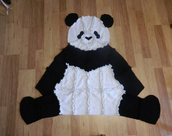 Super Soft and Cozy Panda Bear Quilted Rag Blanket