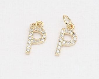 P - Alphabet, Initial, Letter Cubic Pendant Polished Gold -Plated - 1 Pieces <P0238-PG>
