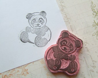 Panda Hand Carved Rubber Stamp