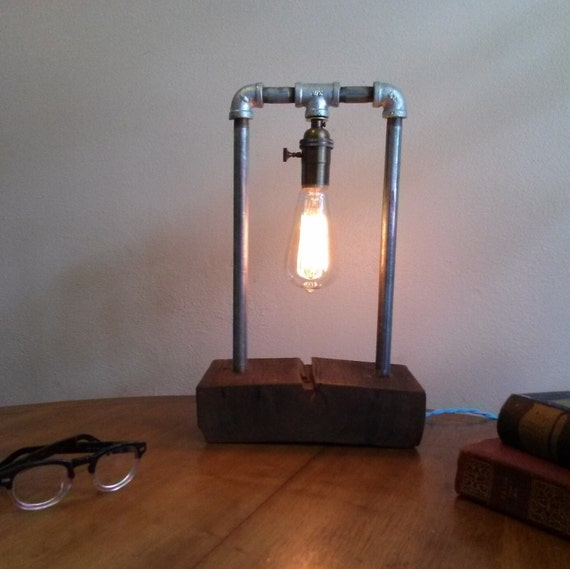 Edison Table Lamp Galvanized Steel Barn Wood By