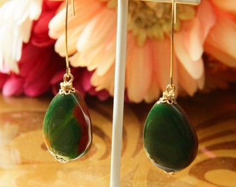 Two Sided Green and Brown Agate Dangles