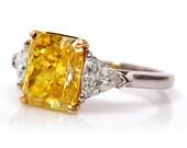CARTIER 5.33ct Natural Fancy Intense Yellow Diamond Platinum Ring
