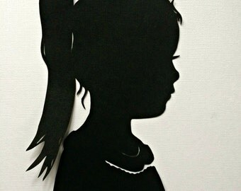 custom child silhouette portrait wall decor wall hanging gift. Black Bedroom Furniture Sets. Home Design Ideas