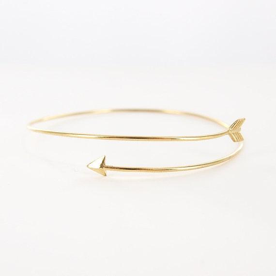 gold delicate thin arrow bangle bracelet thin arrow bracelet