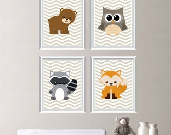 Woodland Nursery Print Quad - Baby. Decor. Bear. Fox. Owl. Raccoon. Boy. Girl. Child. Critters. Gift. - You Pick the Size & Colors (NS-269)
