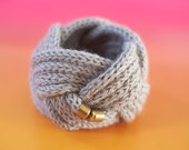 Handmade 100% Pure Alpaca Cuff with brass closures. Cool grey.