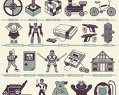 50 Years 50 Toys, a screen printed 2-color poster. This infographic shows some of the most popular toys from the last 50 years.
