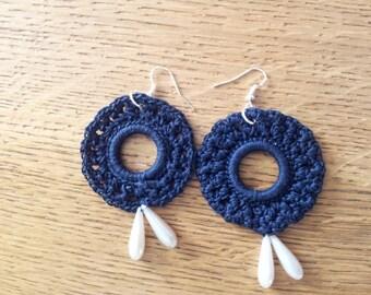 Earrings blue Daisies