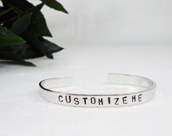 Custom Bracelet Cuff - Personalized Bracelet - Custom Cuff - Stamped Cuff - Girlfriend Gift - Aluminum Cuff - Personalized Gift - Bracelet