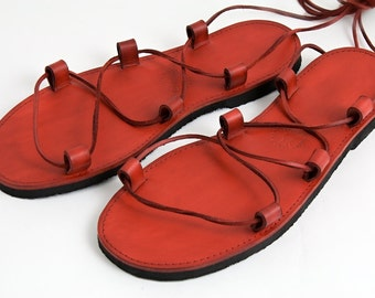 Leather Jesus Sandals - Red