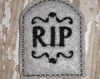 Set of 4 Halloween Tombstone Tomb RIP Feltie Felt Embellishment Bow! Felties Applique Party
