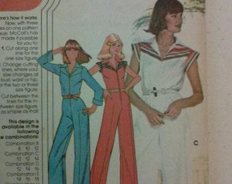 "Vintage 70s Jumpsuit Pattern. McCalls 5475. Junior Petite 31-33"" Bust. Free US Shipping!"