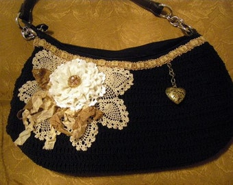 Romantic Purse for Everyday use, black purse with vintage crocheted lace, beautiful trims, handmade flower, One of a Kind