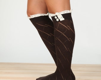 Brown Boot socks, high knee socks. Lace Boot Socks, Knee Highs, Stocking Stuffer, , Fashion Accessories, Cozy Socks, Lace Trim Socks