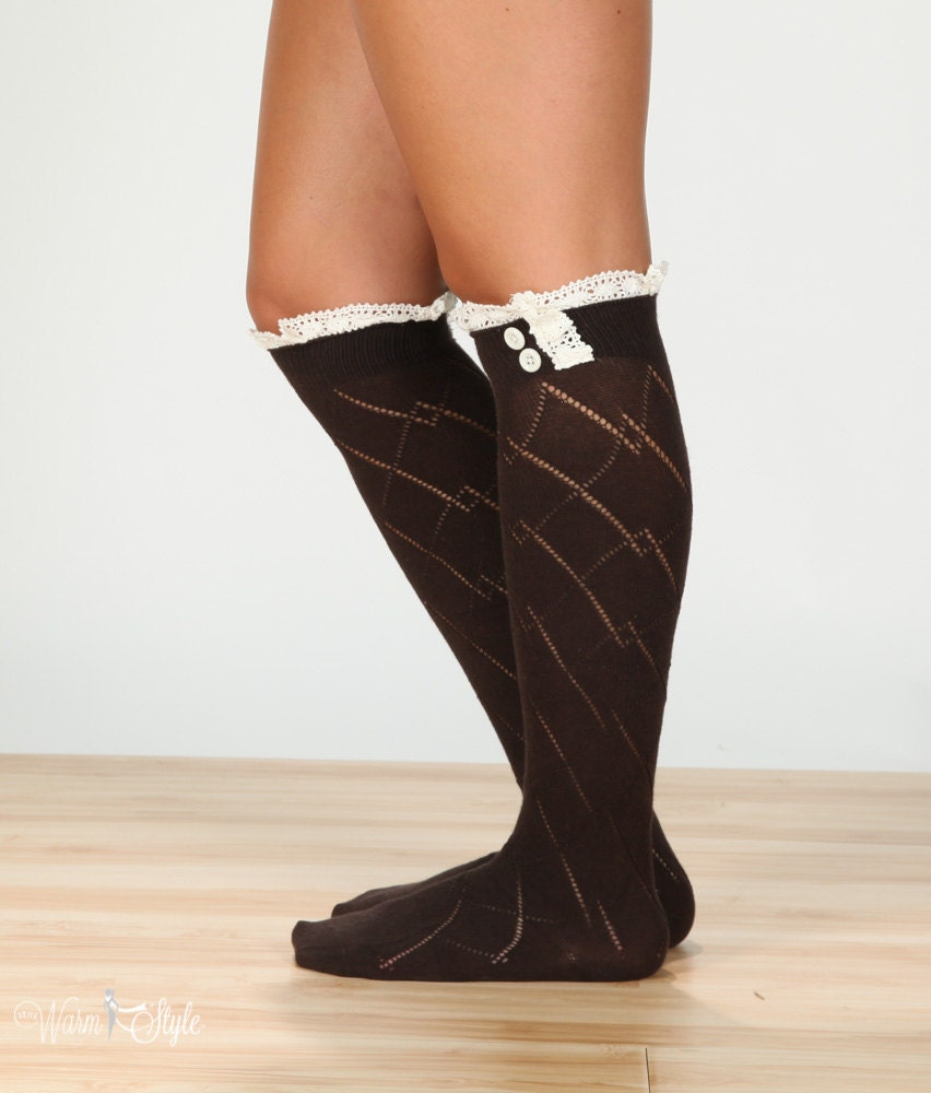 brown boot socks high knee socks lace boot socks knee