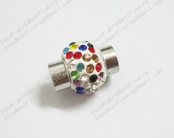 5pcs Rhinestone magnetic clasp Round leather clasp 7mm Clay crystal pave clasp