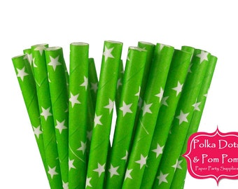 CLEARANCE - 25 GREEN and WHITE Stars Paper Drinking Straws / Birthday Party Decoration Ideas and Supplies / Wedding