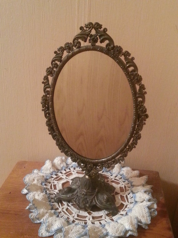 Vintage Vanity Mirror With Lights : Vintage Ornate Italian Brass Vanity Mirror by VintageatChristines