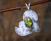 Peridot 4mm round Adoption Pendant in .999 fine silver & Sterling SIlver