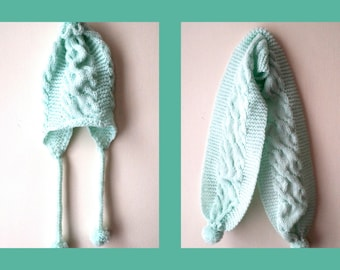 Hand Knitted children's Set  - hat and scarf , pom - pom hat, pom - pom scarf in mint color for children
