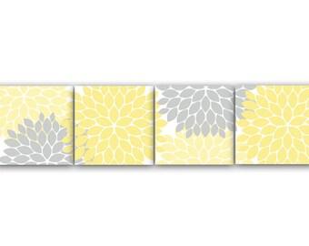 Home Decor Wall Art, Yellow Bedroom Decor, Yellow and Gray Flower Burst CANVAS Art, 12x12 Bathroom Wall Decor, Nursery Wall Art - HOME59