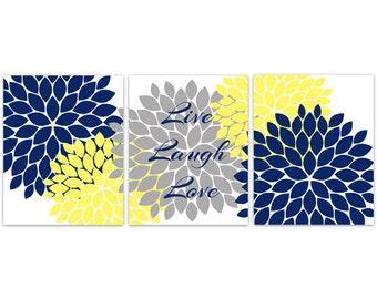 Home Decor Wall Art, Live Laugh Love, Blue Grey Wall Art, Flower Burst Bathroom Wall Decor, Blue and Yellow Bedroom Wall Art - HOME109