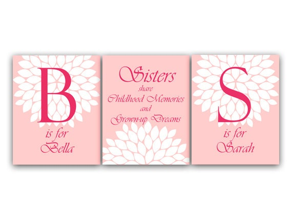 Wall Art Quotes For Sisters : Sisters wall art sister quote personalized kids