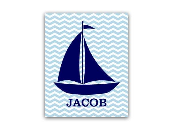 Personalized Nautical Wall Decor : Nautical nursery decor personalized kids wall art name