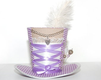 Mini Hat - Oktoberfest - Dirndl décolleté - gingham purple - Fascinators - headpiece