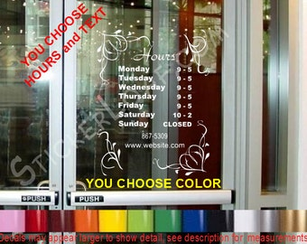 STORE HOURS CuStOm Window Decal Business Shop Storefront Door sign company name Personalized Sticker Decals Stickers florist nails Salon
