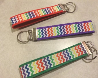 Rainbow Chevron Wristlet Keychain/Key Fob - CLEARANCE