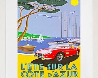Travel Poster French Riviera Art Print Vintage Home Decor (ZT207)