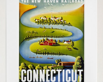 Connecticut Art Vintage Travel Poster Print Home Wall Decor (XR360)