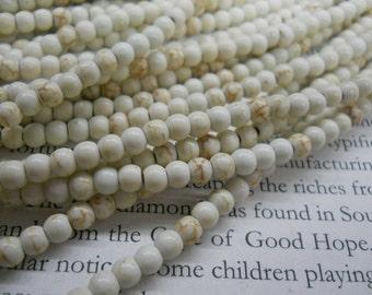 3mm white turquoise round beads, white howlite beads, 15.5 inch