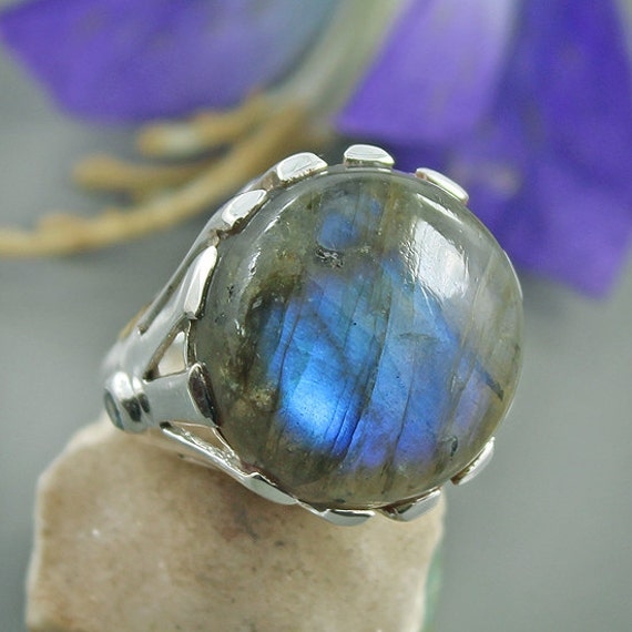 labradorite blue topaz gemstone ring sterling by
