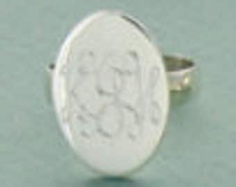 Sterling Silver Monogram Engraved Tall Oval Ring