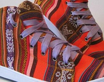 Pancho's Footwear - Women's Orange Hi-Top Sneakers