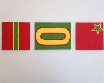 Rastafarian inspired Roller Derby painting (set of 3)