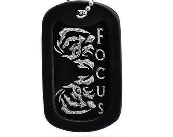 """Eye of the Tiger """"FOCUS"""" Design Auminum DOg Tag with  Stainless Steel Chain Necklace- AN026"""