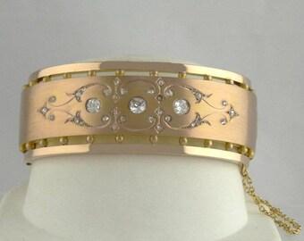 "14K Rose & Yellow Gold 2.00ct VS Mine Diamond Vintage Bangle Bracelet 1"" We offer Layaway! 33690"