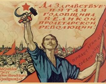 1922, 5th Anniversary of Russian Revolution big poster